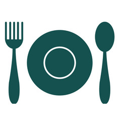 Flatware and plate icon vector