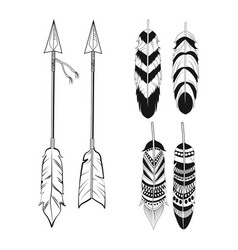 Free spirit feathers and arrows ornament vector