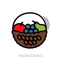 Fruit Basket icon Harvest Thanksgiving vector