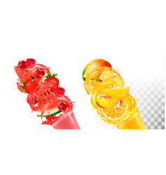fruit in juice splashes strawberry raspberry vector image