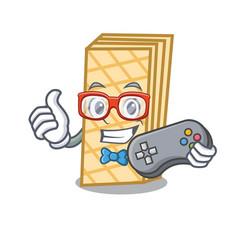 Gamer waffle mascot cartoon style vector