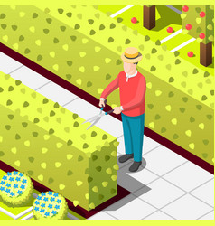 Gardener employed worker isometric background vector