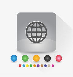 globe icon sign symbol app in gray square shape vector image