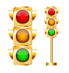 golden traffic lights with all three colors on vector image