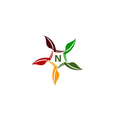 green project solution center initial n vector image
