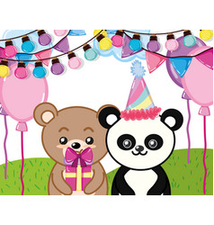 happy birthday animals party vector image