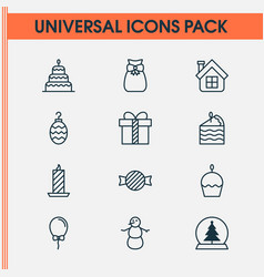 happy icons set with cupcake tree ball candle vector image