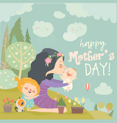 happy woman and children in the blooming spring vector image