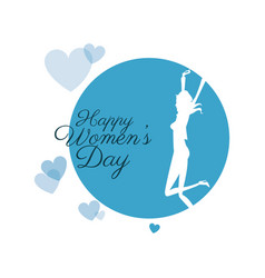 Happy womens day girl with hearts vector