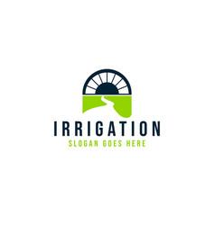 Irrigation water canal bridge logo ideas vector