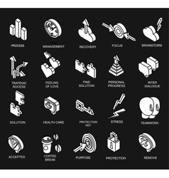 Isometric icons collection of human brain process vector