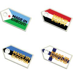 Label Made in Djibouti Egypt Estonia Finland vector
