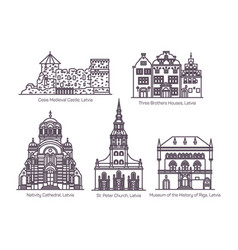 landmarks latvia in thin line architecture vector image