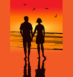 lovers at seaside vector image