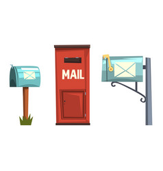 Mail boxes collection post mailbox for delivery vector