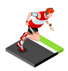 Marathon Runners Fitness Working Out Isometric 3D vector