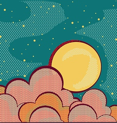 Moon and cloudsRetro nature sky background for vector
