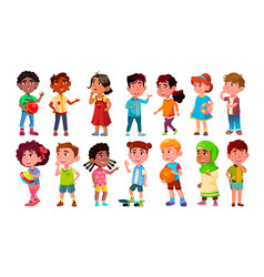 multicultural characters children kids set vector image