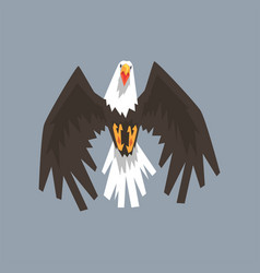 North american bald eagle character flying symbol vector