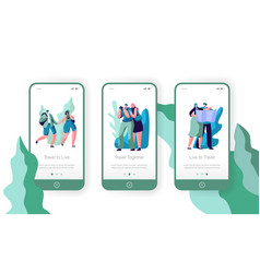 people couple travel mobile app page screen vector image