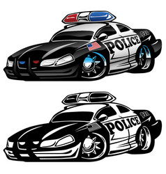 police muscle car cartoon vector image