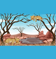 Pollution control scene with tigers and drought vector