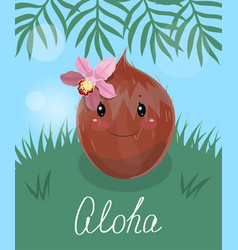 Poster with cute coconut- eps vector