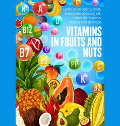 Poster with vitamins of fruits and nuts vector