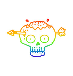 Rainbow gradient line drawing cartoon skull with vector