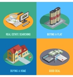 Real Estate 4 Isometric Icons Square vector