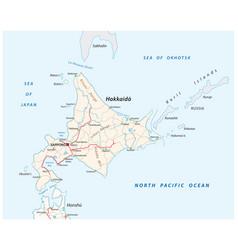 road map japanese island hokkaido vector image