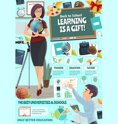 School teacher and college boy education poster vector