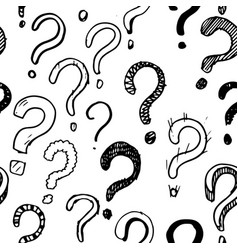 Seamless pattern hand drawn question marks vector