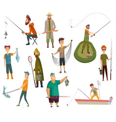 Set fishermans fishing with fishing rod vector