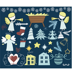 Set of christmas icons with angels and manger vector