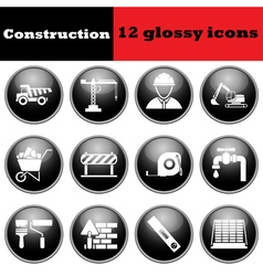 Set of construction glossy icons Set of constructi vector image
