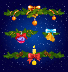 Set of decorative elements for christmas cards vector