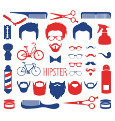 Set of dress up with different men hipster vector