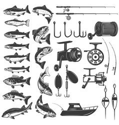set of fishing icons fish icons fishing rods vector image