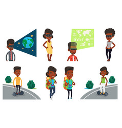 set of people using modern technologies vector image