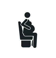 sitting pregnant woman detailed black icon for vector image
