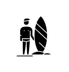 surfer black icon sign on isolated vector image