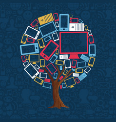 technology device tree for internet concept vector image