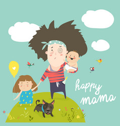 Tired mother walking with her kids vector