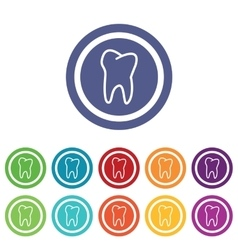 Tooth signs colored set vector