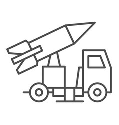 Truck with rocket thin line icon rocket launch vector