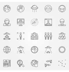 Ufo and alien icons set vector