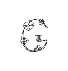 Vintage floral bold letter g logo spring classic vector