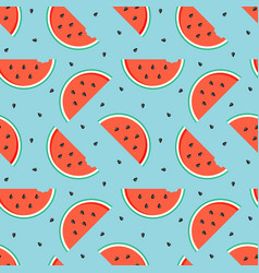 Watermelon slices with seeds seamless pattern vector