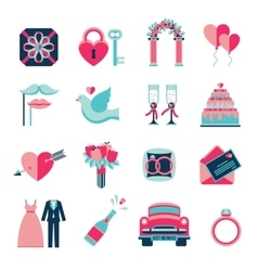 Wedding Flat Icons Set vector